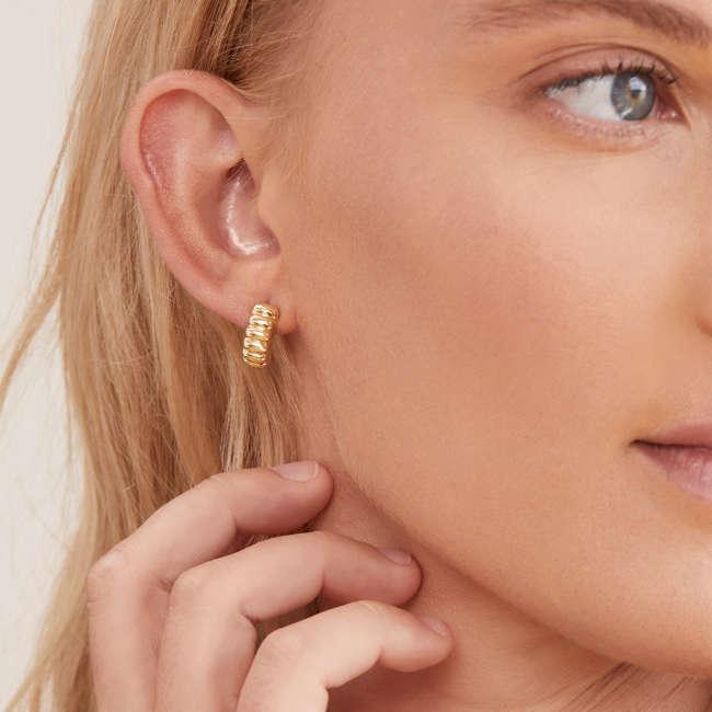 Charlotte Large Circle Hoop Earrings Gold Plated Brass Sterling Silver Pair Stud Earrings Pearl Hoop Earrings Statement Earrings